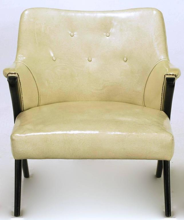 American Pair of 1940s Modernist Club Chairs in Original Bone Glazed Leather For Sale