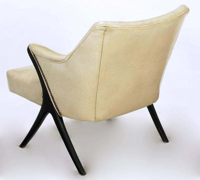 Brass Pair of 1940s Modernist Club Chairs in Original Bone Glazed Leather For Sale