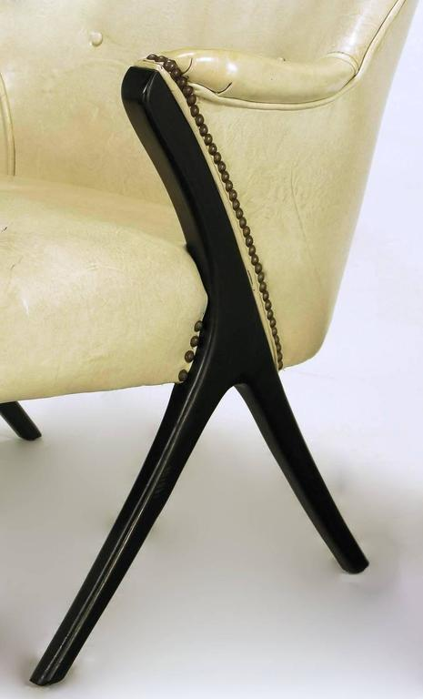 Pair of 1940s Modernist Club Chairs in Original Bone Glazed Leather For Sale 2
