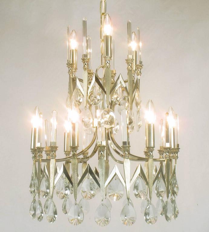 Rare italian import gaetano sciolari silver and crystal nine light rare gaetano sciolari silver plated two tiered crystal chandelier italian origin with uncommon chevron aloadofball Gallery