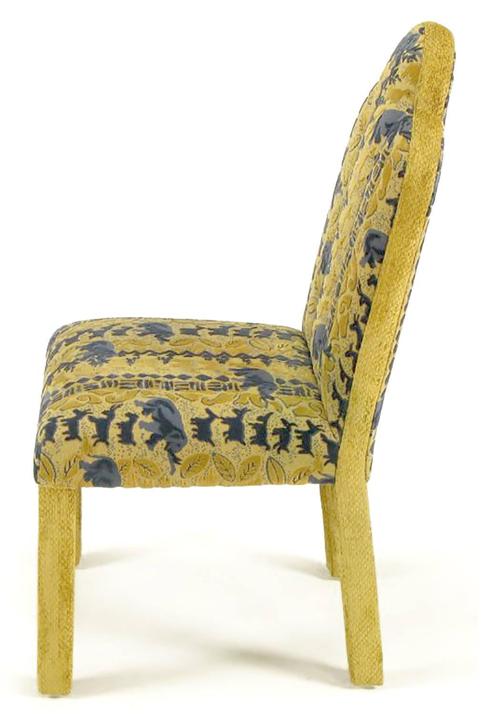 Four art deco revival fully upholstered dining chairs for for Upholstered dining chairs for sale