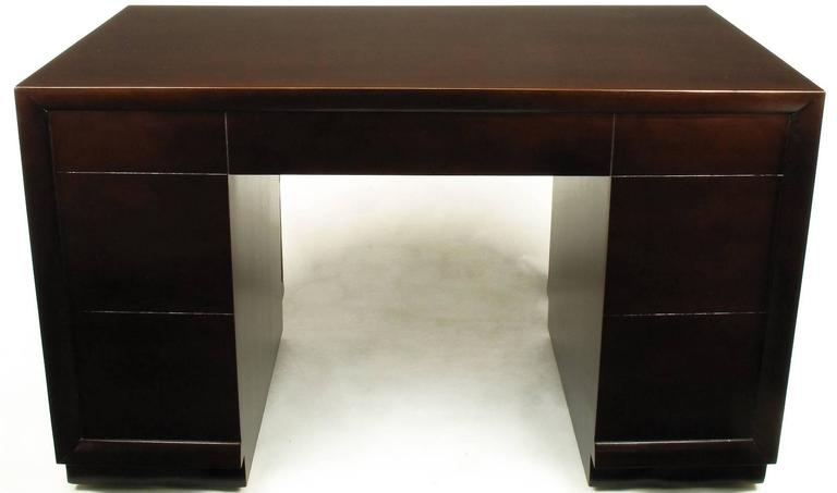 Mid-20th Century T.H. Robsjohn-Gibbings For Widdicomb Dark Mahogany Knee Hole Desk For Sale
