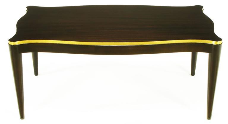 American Davidson Ltd Ribbon Mahogany & Parcel Gilt Regency Coffee Table For Sale