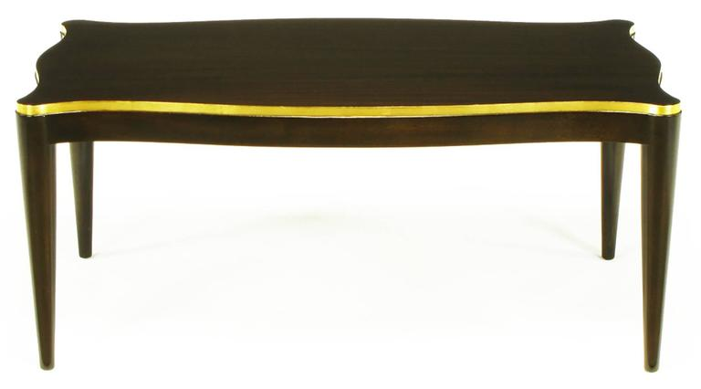 Davidson Ltd Ribbon Mahogany & Parcel Gilt Regency Coffee Table In Excellent Condition For Sale In Chicago, IL