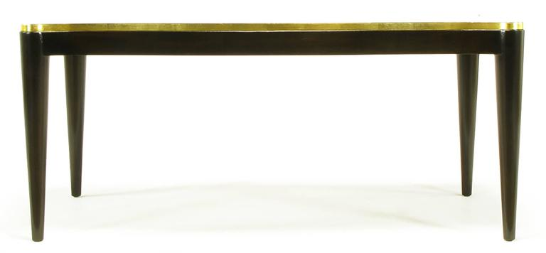 Mid-20th Century Davidson Ltd Ribbon Mahogany & Parcel Gilt Regency Coffee Table For Sale