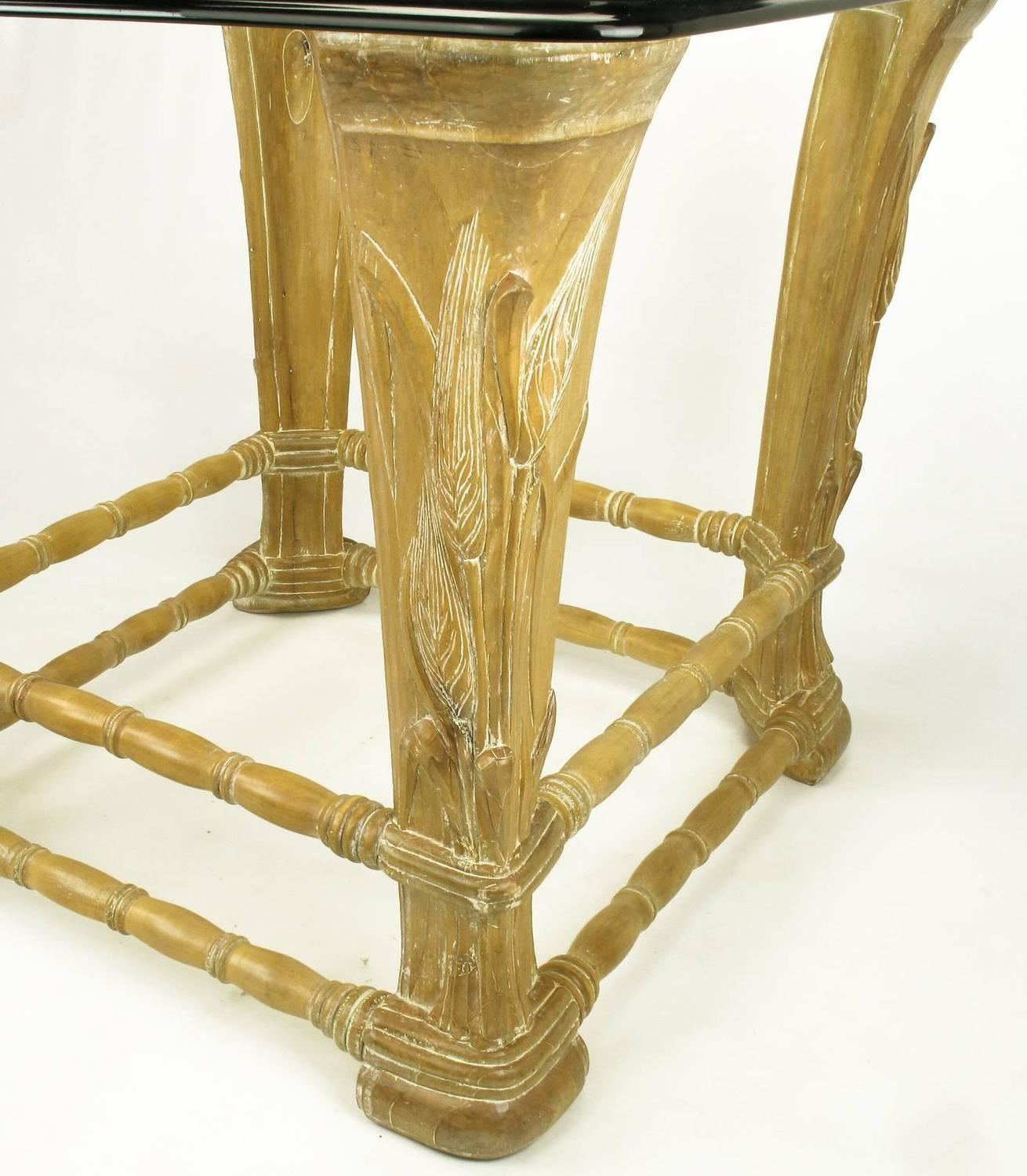 Limed alder center table with carved wheat relief and