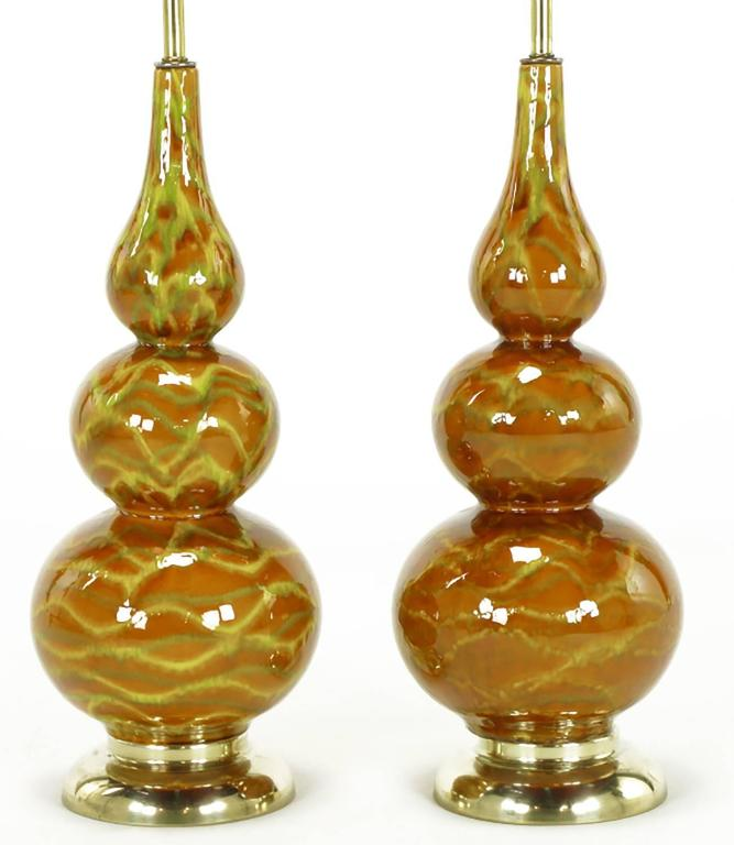 glazed ceramic triple gourd form table lamps for sale at 1stdibs. Black Bedroom Furniture Sets. Home Design Ideas