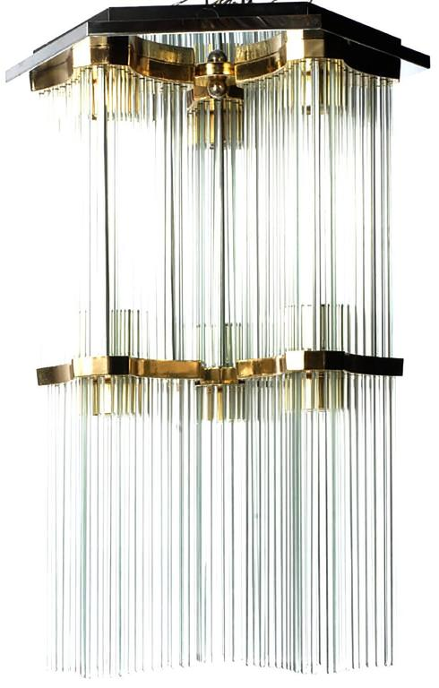 Gaetano Sciolari for Lightolier glass rod and brass two-tiered waterfall flush mount chandelier. Chrome-plated hexagonal ceiling mount with six brass plated reverse trefoil fitters. Six lights, one light for each glass rod section.