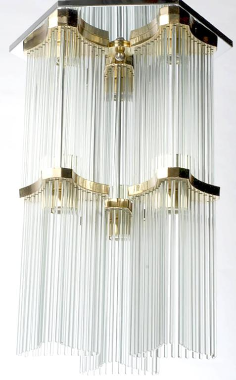 Italian Gaetano Sciolari for Lightolier Two-Tiered Glass Rod and Brass Chandelier For Sale