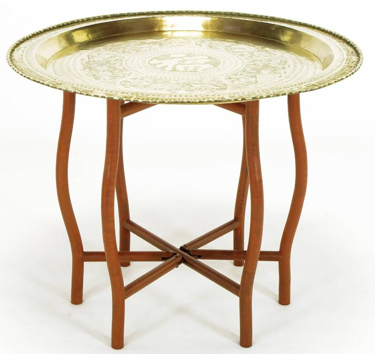 Asian Engraved Brass Charger Folding Tray Table For Sale at 1stdibs