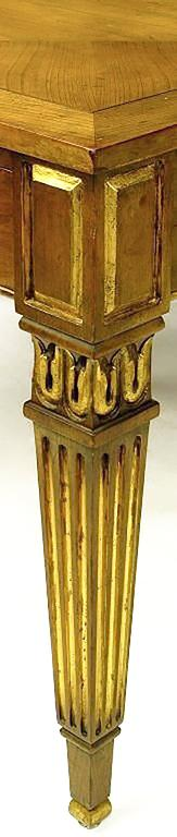 Brass Pair of Louis XVI Style Parcel-Gilt End Tables by Baker For Sale