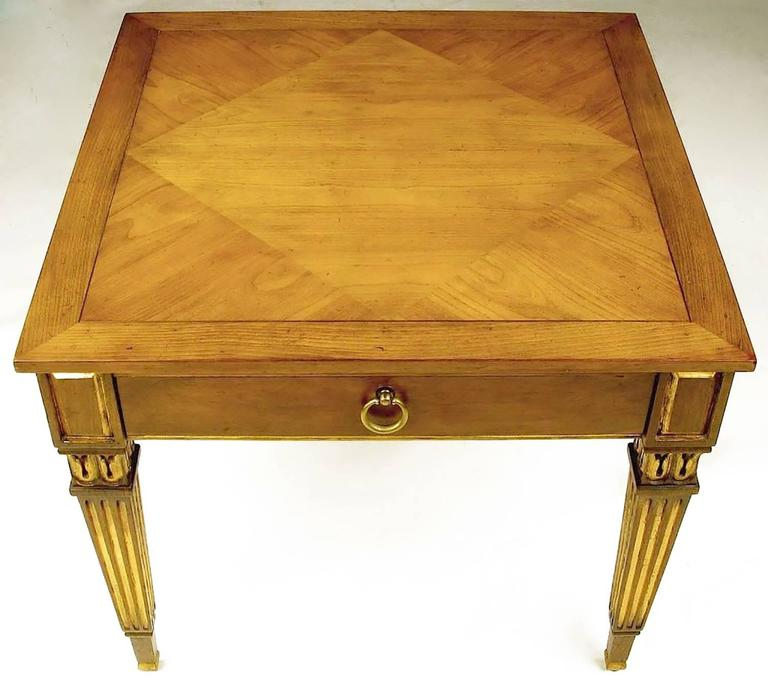 Mid-20th Century Pair of Louis XVI Style Parcel-Gilt End Tables by Baker For Sale