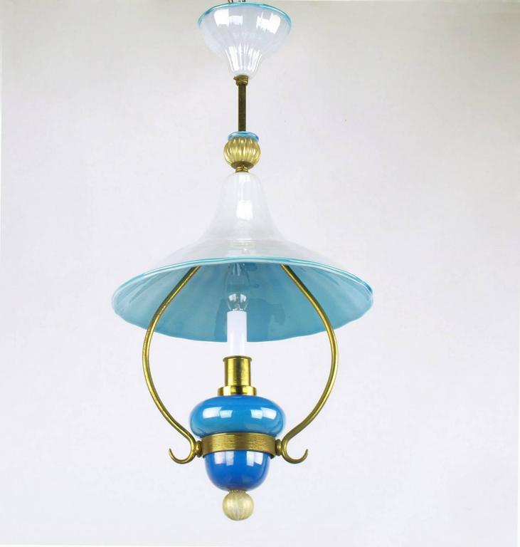 Italian Murano Blue and White Cased Glass Hooded Pendant Chandelier In Good Condition For Sale In Chicago, IL