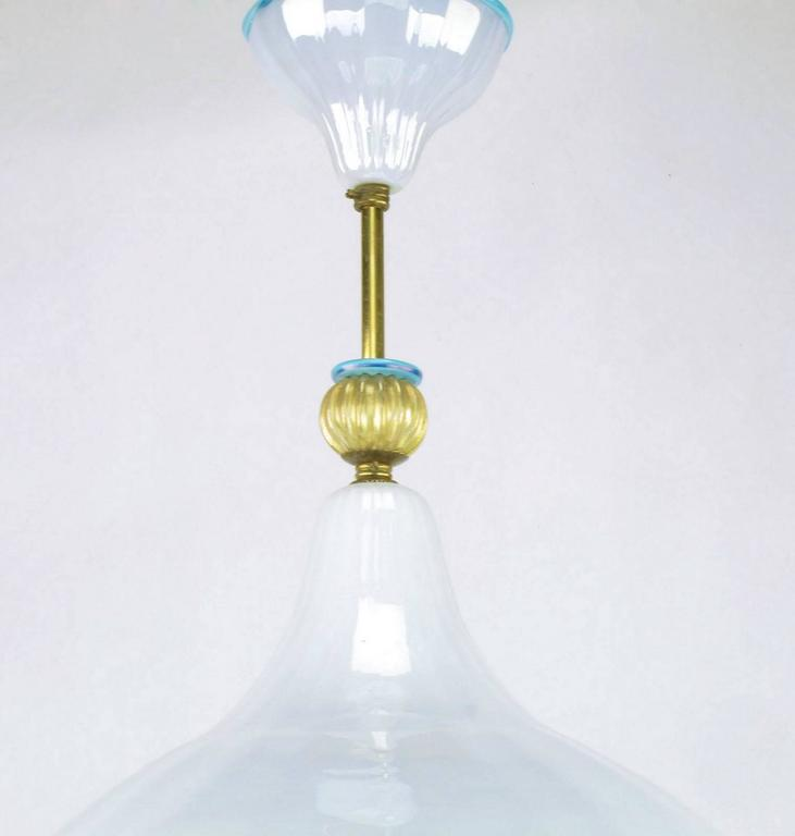 Mid-20th Century Italian Murano Blue and White Cased Glass Hooded Pendant Chandelier For Sale
