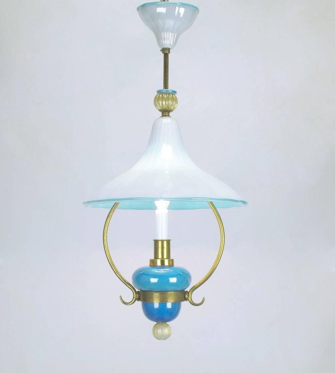 Italian Murano Blue and White Cased Glass Hooded Pendant Chandelier For Sale 2