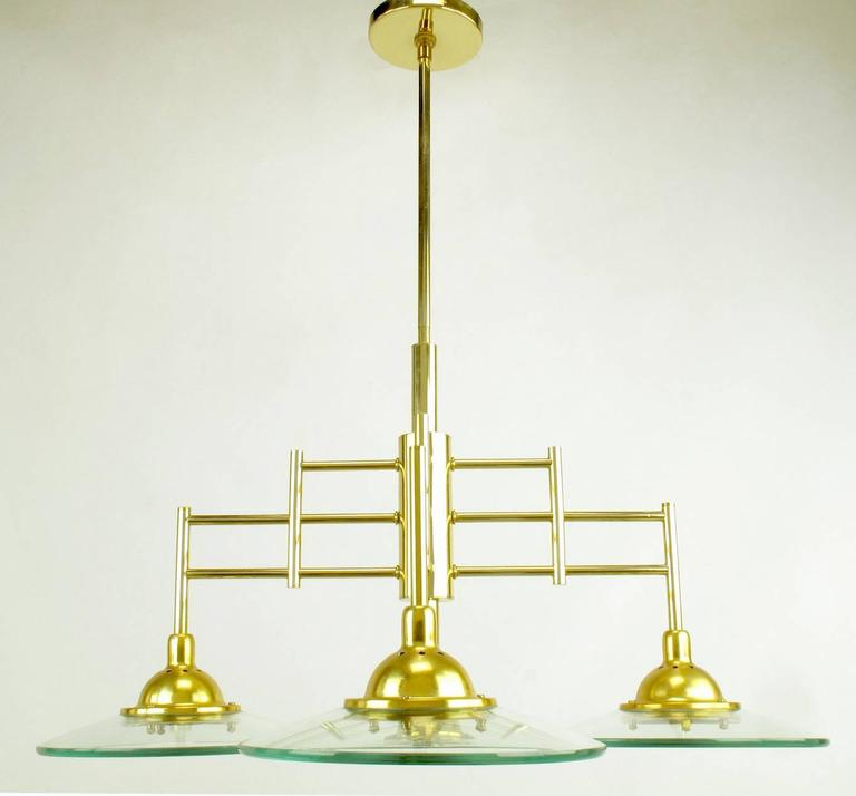 Late 20th Century Architectural Four-Light Brass and Glass Pendant Halogen Chandelier For Sale