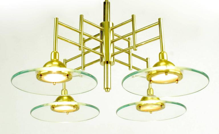 Architectural Four-Light Brass and Glass Pendant Halogen Chandelier For Sale 2