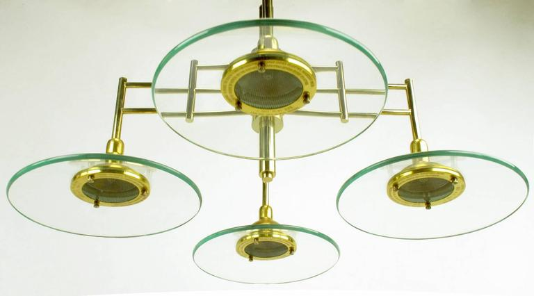 Architectural Four-Light Brass and Glass Pendant Halogen Chandelier For Sale 3