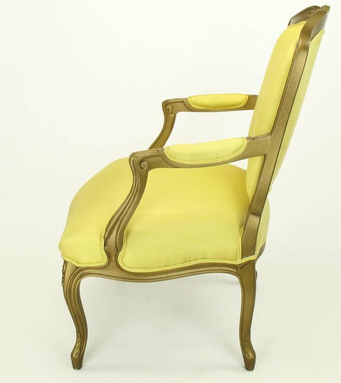 American 1940s Giltwood Louis XV Style Fauteuil with Saffron Silk Upholstery For Sale