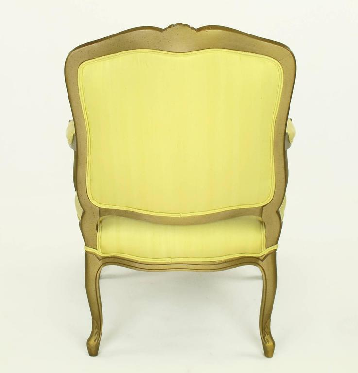 1940s Giltwood Louis XV Style Fauteuil with Saffron Silk Upholstery In Good Condition For Sale In Chicago, IL