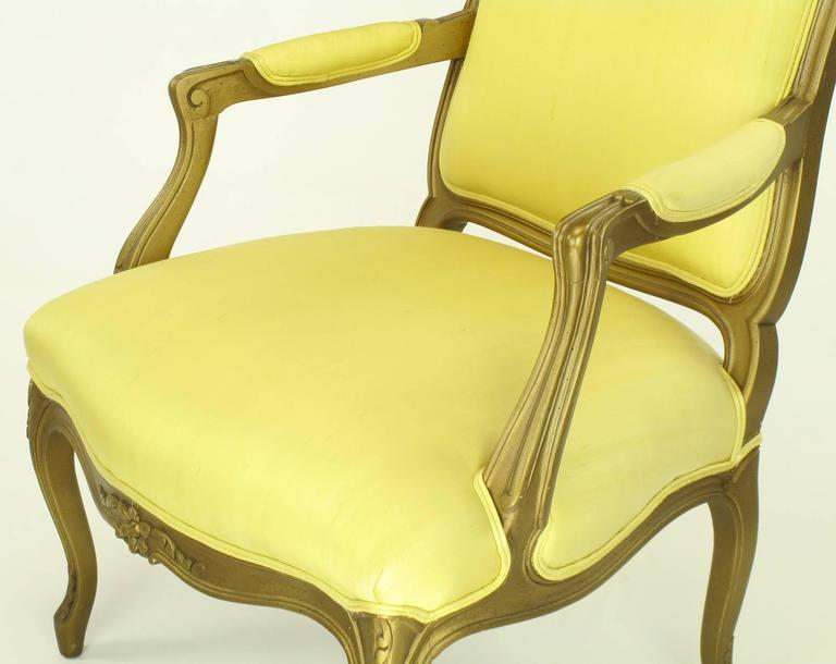 Mid-20th Century 1940s Giltwood Louis XV Style Fauteuil with Saffron Silk Upholstery For Sale
