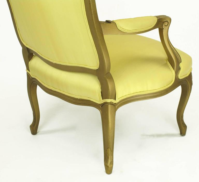 1940s Giltwood Louis XV Style Fauteuil with Saffron Silk Upholstery For Sale 1