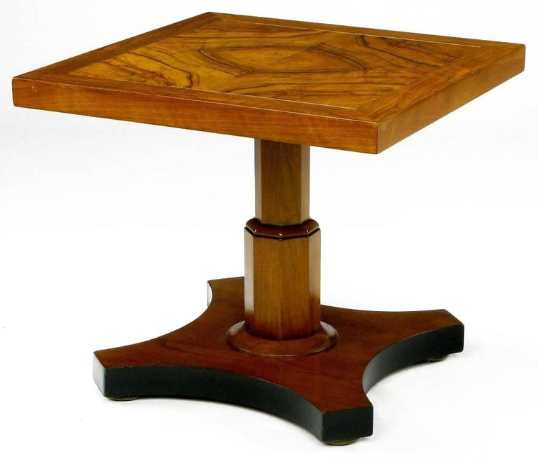 American Pair of Baker Furniture 1950s Highly Figured Bookmatched Walnut Side Table For Sale