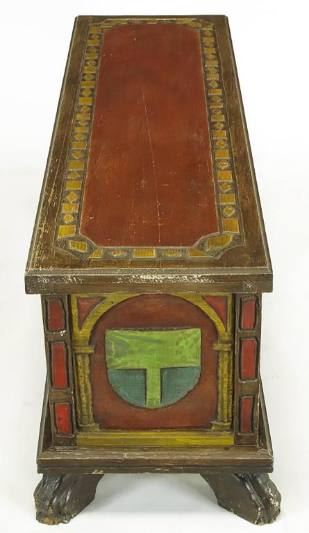 Artes De Mexico Spanish Revival Polychrome Wood Blanket Chest In Good Condition For Sale In Chicago, IL