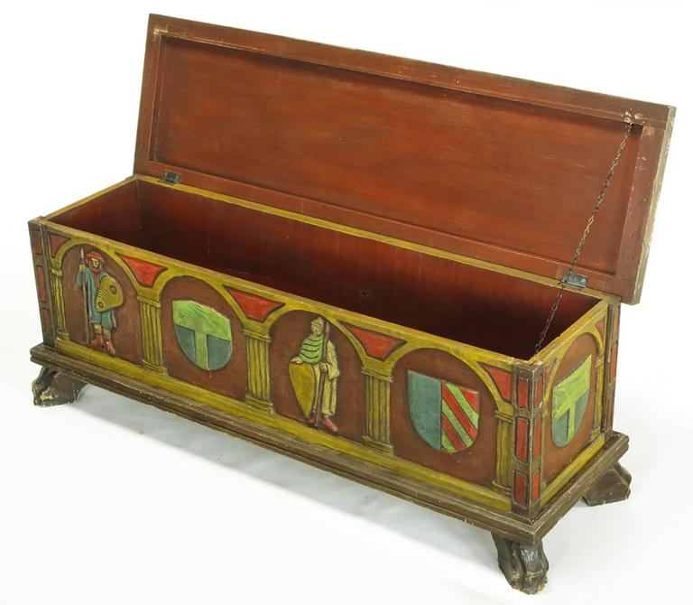 Mid-20th Century Artes De Mexico Spanish Revival Polychrome Wood Blanket Chest For Sale