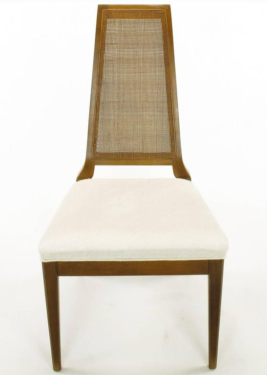 American Sleek, circa 1950s Modern Walnut and Cane Dining Chairs For Sale