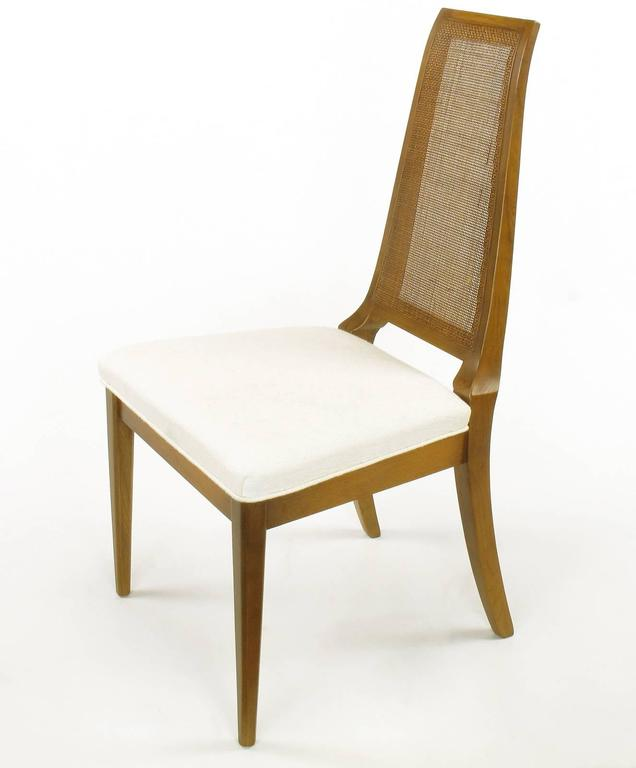 Mid-20th Century Sleek, circa 1950s Modern Walnut and Cane Dining Chairs For Sale
