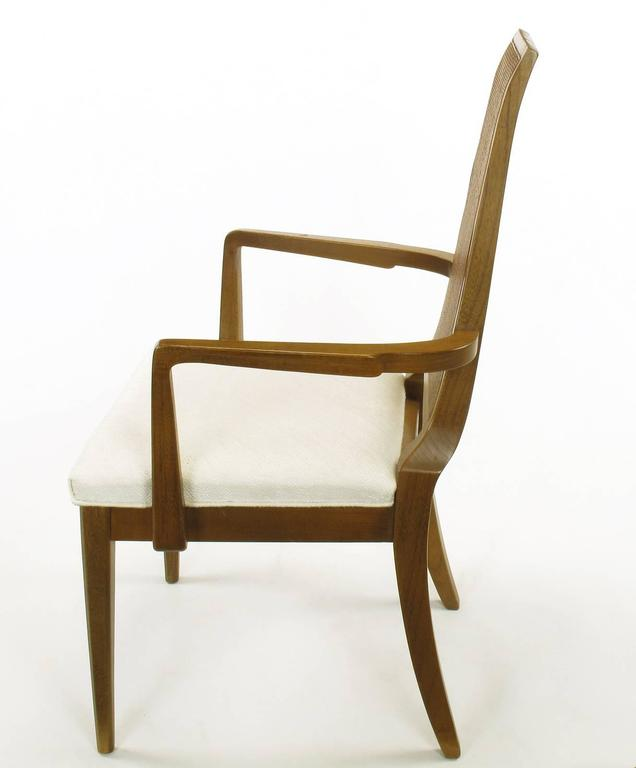 Sleek, circa 1950s Modern Walnut and Cane Dining Chairs For Sale 1