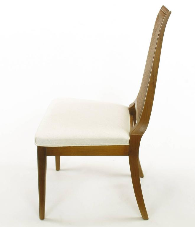 Sleek, circa 1950s Modern Walnut and Cane Dining Chairs For Sale 2