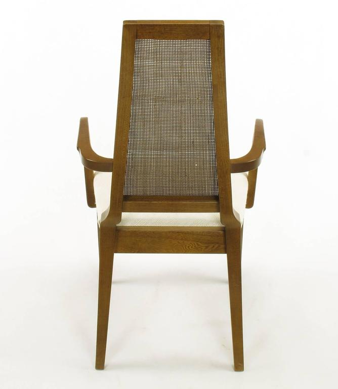 Sleek, circa 1950s Modern Walnut and Cane Dining Chairs For Sale 3