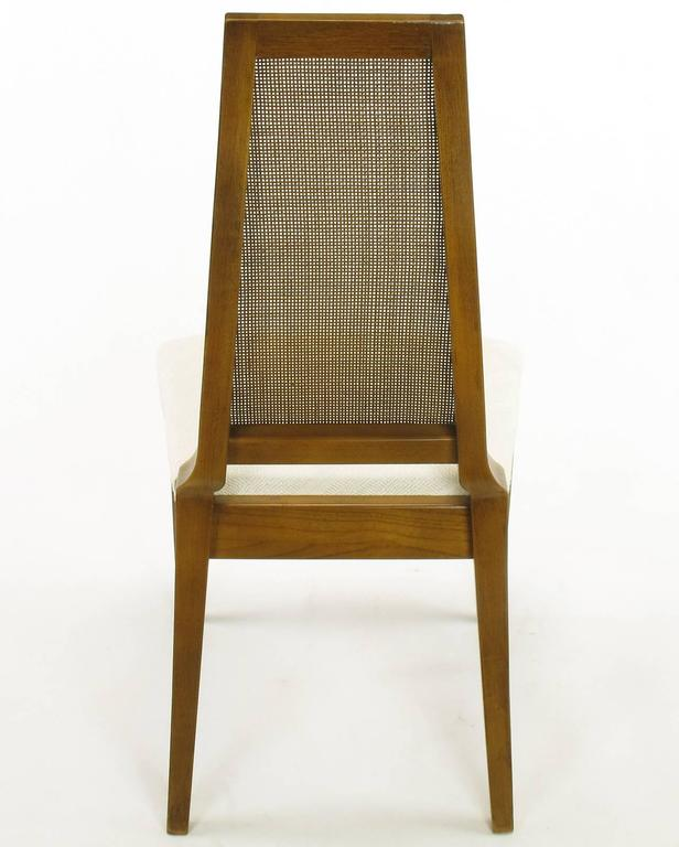 Sleek, circa 1950s Modern Walnut and Cane Dining Chairs For Sale 4