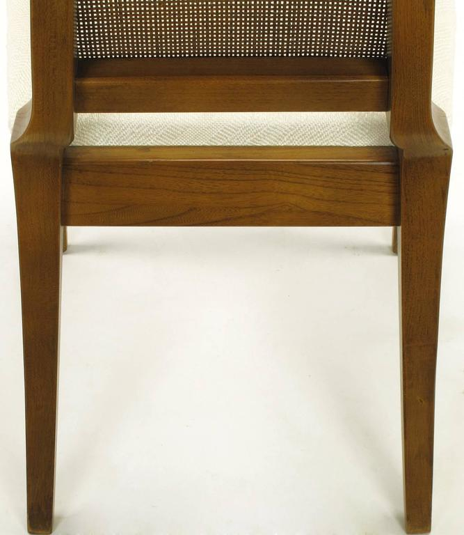 Sleek, circa 1950s Modern Walnut and Cane Dining Chairs For Sale 5