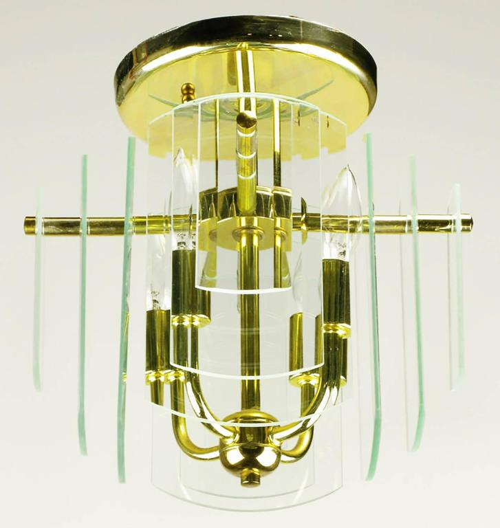 American Pair Brass and Beveled Graduated Glass Ceiling Lights For Sale