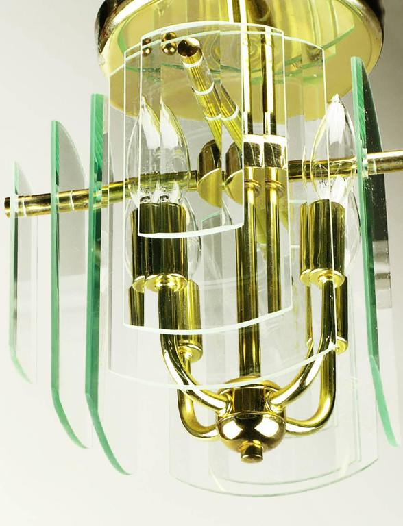 Pair Brass and Beveled Graduated Glass Ceiling Lights In Good Condition For Sale In Chicago, IL