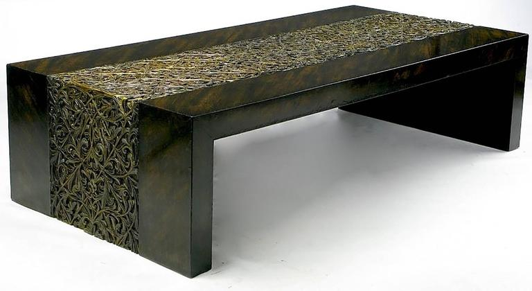 American Phyllis Morris Hand Painted Zebrano Wood and Gilt Arabesque Coffee Table For Sale