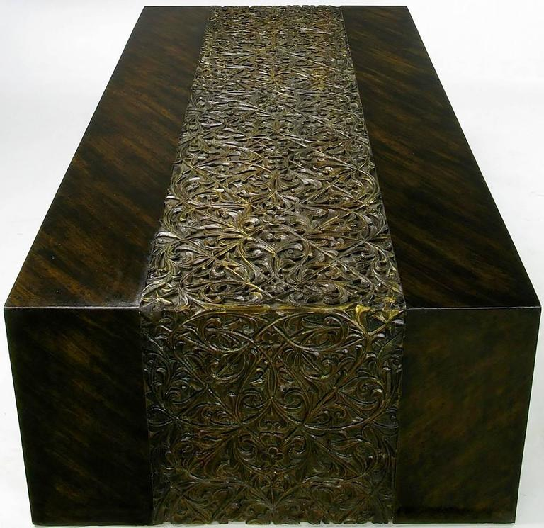 Phyllis Morris Hand Painted Zebrano Wood and Gilt Arabesque Coffee Table In Excellent Condition For Sale In Chicago, IL