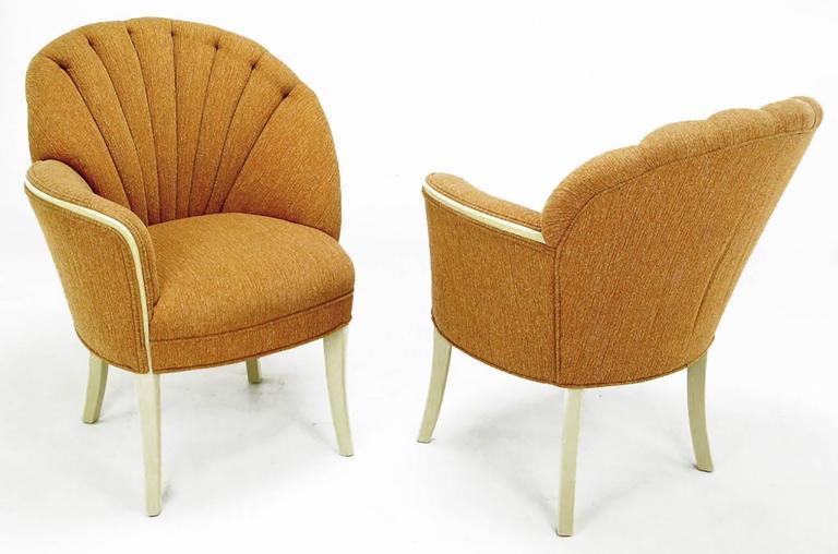 Elegant Pair Of Mirror Image Art Deco Shell Back Fireside Chairs In  Heathered Cinnamon Orange