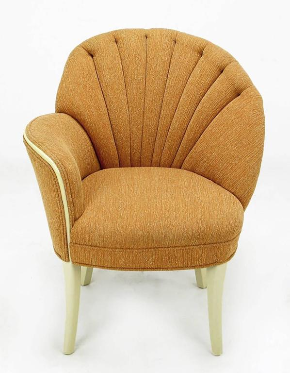 American Pair of 1930s Single Arm Art Deco Shell Back Chairs For Sale