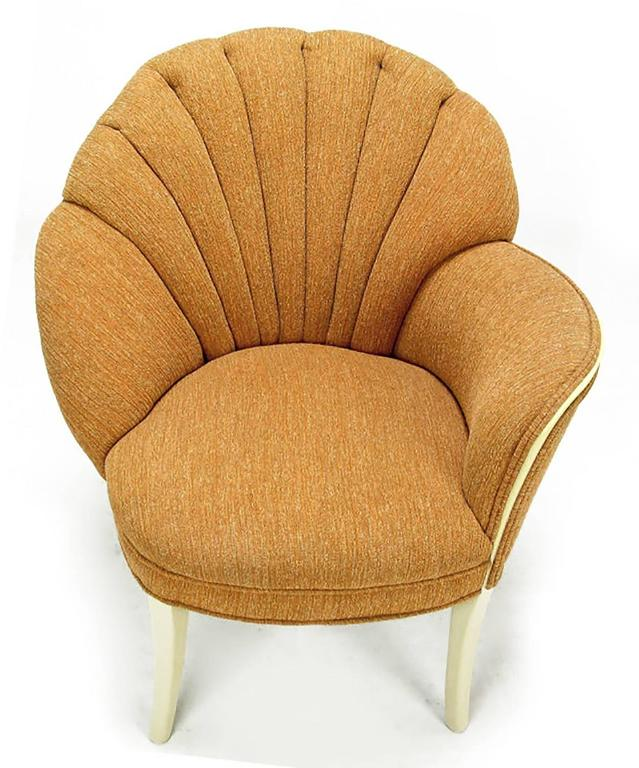 Pair of 1930s Single Arm Art Deco Shell Back Chairs In Good Condition For Sale In Chicago, IL