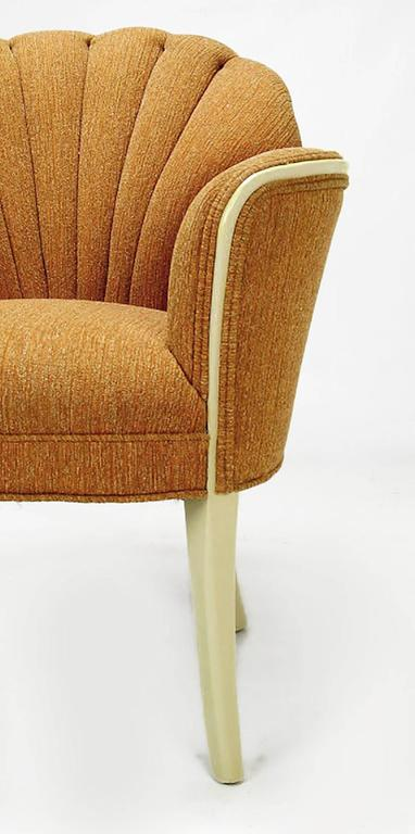 Pair of 1930s Single Arm Art Deco Shell Back Chairs For Sale 2
