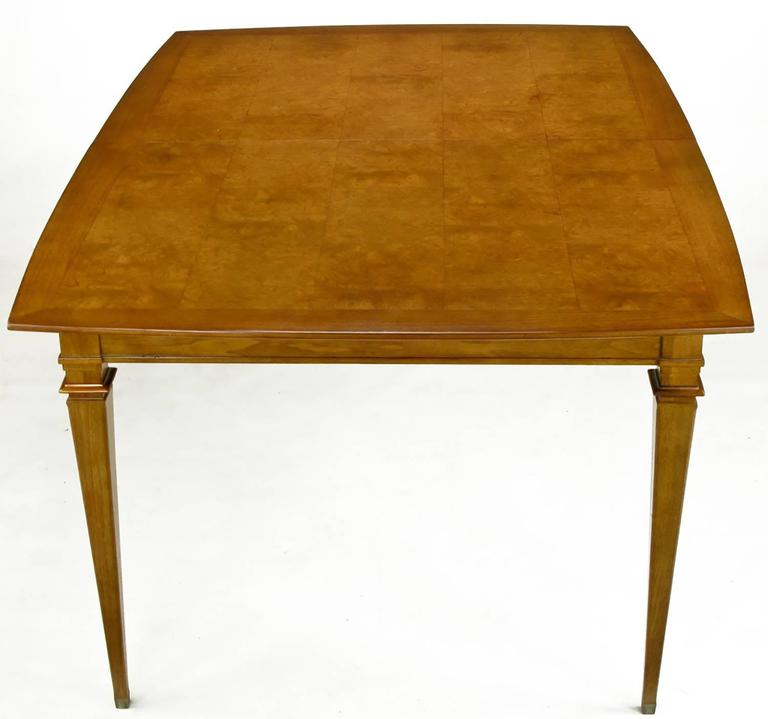 Plated Empire Style Burled Walnut Parquetry Top Dining Table with Copper Accent For Sale