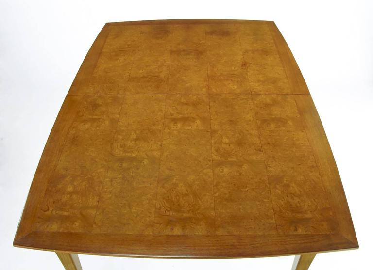 Empire Style Burled Walnut Parquetry Top Dining Table with Copper Accent In Good Condition For Sale In Chicago, IL