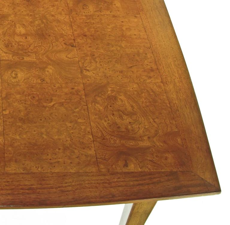 Empire Style Burled Walnut Parquetry Top Dining Table with Copper Accent For Sale 1