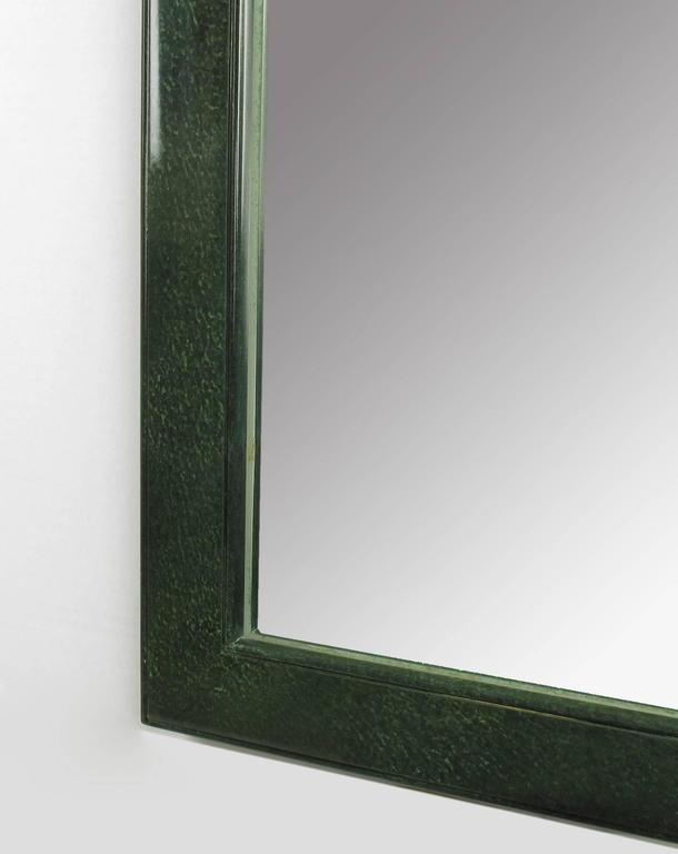 Large stippled green lacquer chinese style mirror with for Asian style mirror