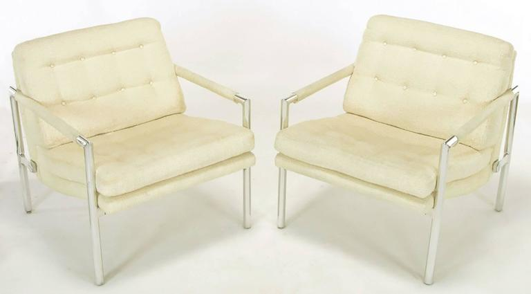 American Pair of Polished Aluminum & Linen Lounge Chairs in the Manner of Harvey Probber For Sale