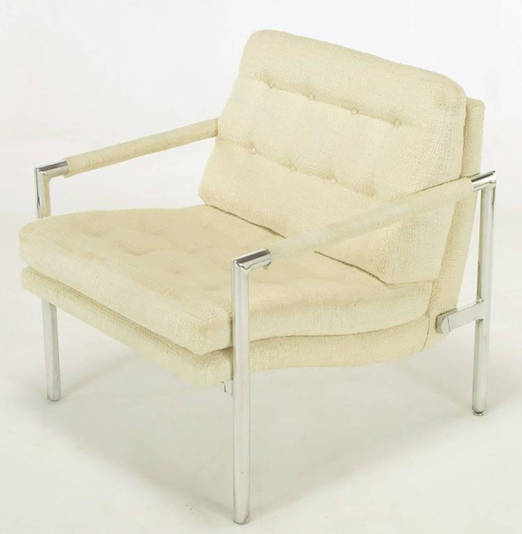 Silk Pair of Polished Aluminum & Linen Lounge Chairs in the Manner of Harvey Probber For Sale